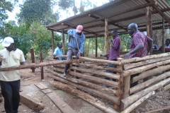 RUCEDS members constructing a pig sty